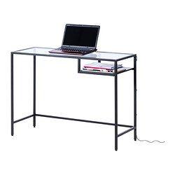 VITTSJÖ Tietokonepöytä, mustanruskea, lasi - 100x36 cm - IKEA