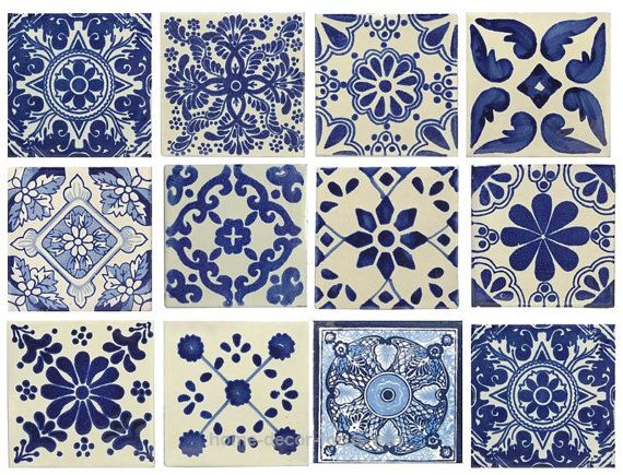 Decorative Spanish Tiles Blue & White Mixed Styles 4X4 Mexicanspanish Decorative Ceramic