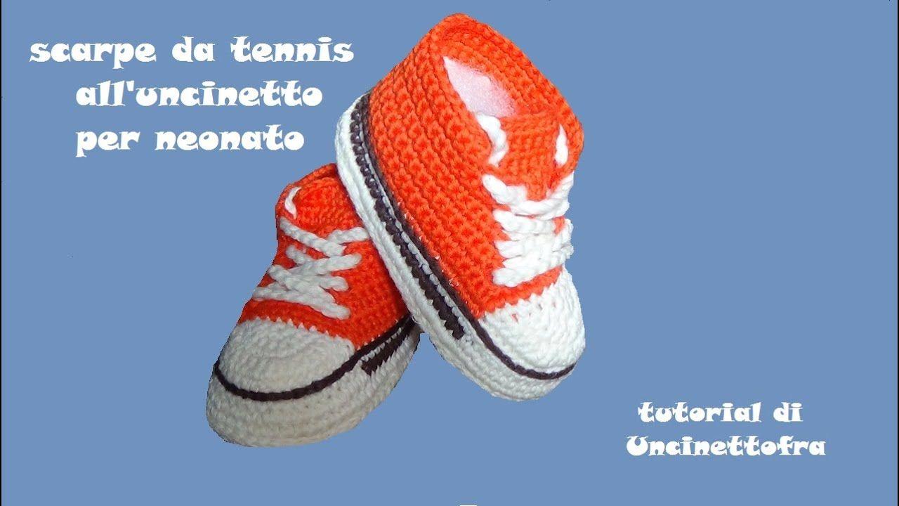 scarpine da tennis all'uncinetto per neonato