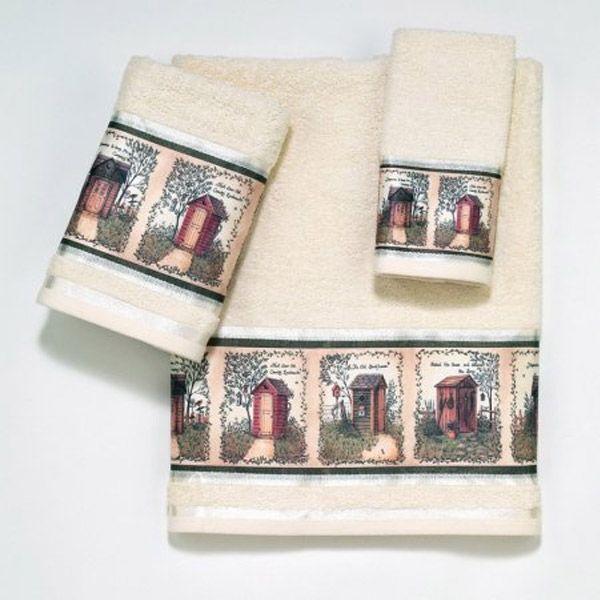 Outhouses Beige Bath Towel By Avanti Outhouse Bathroom Towel Set Bath Accessories Set