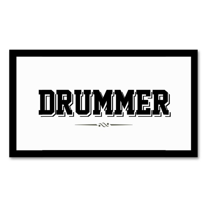 Modern Bold Border Drummer Business Card