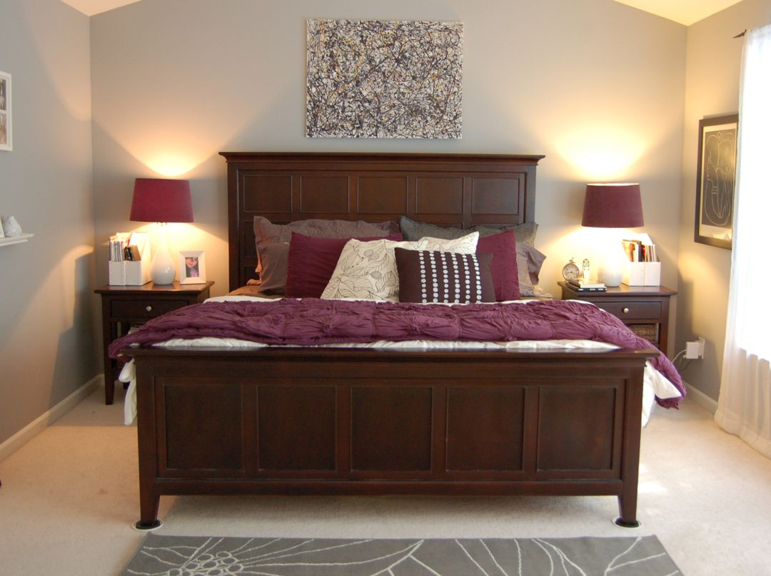 Master bedroom gray  purple  gray room with natural wood furniture  Master Bedroom