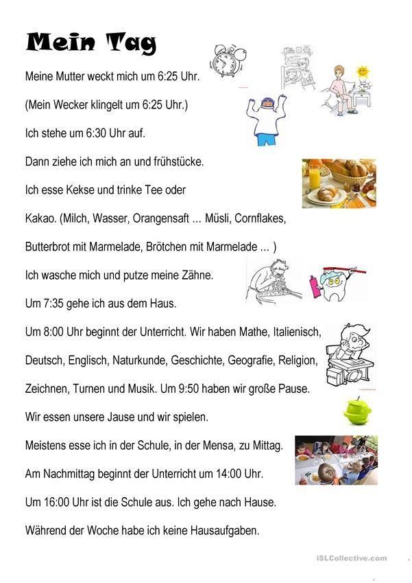 Mein Tag | Learn german, German language and Worksheets
