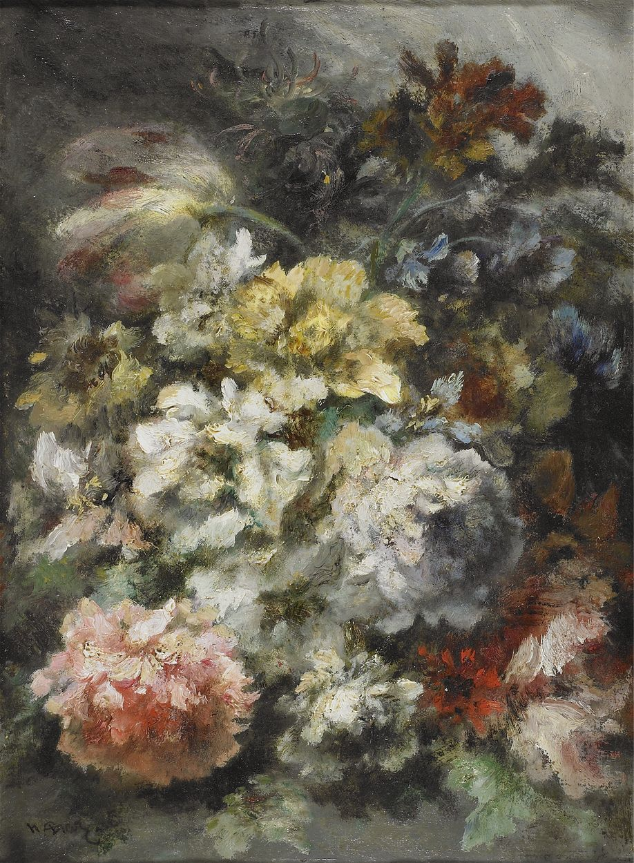 Narcisse Virgile Diaz de la Pena - Peonies and various flowers, oil on carton mounted on panel