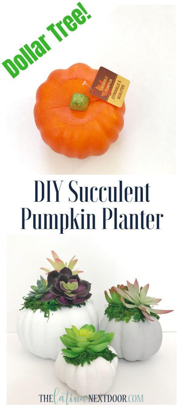 DIY Dollar Tree Fall Succulent Pumpkin Sadzarka #dollartreecrafts