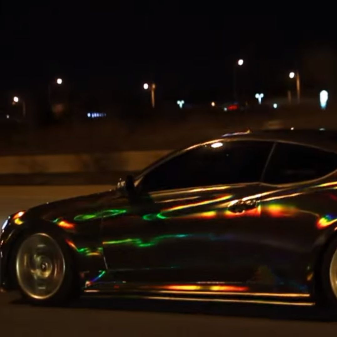 Holographic Black Chrome Car Holographic Rainbow Chrome Vinyl Wrap Driving On The Highway Https Www Youtube Com Watch V Gw6b In 2020 Chrome Cars Holographic Car Car
