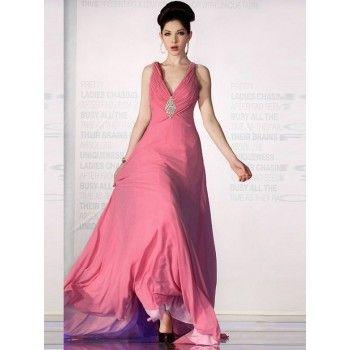 zierliche abendkleider pink chiffon lang mit trägern  abendkleid kleider für bälle