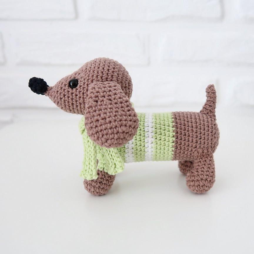 Crochet dachshund dog #amigurumi #amigurumipattern #crochettoy ...