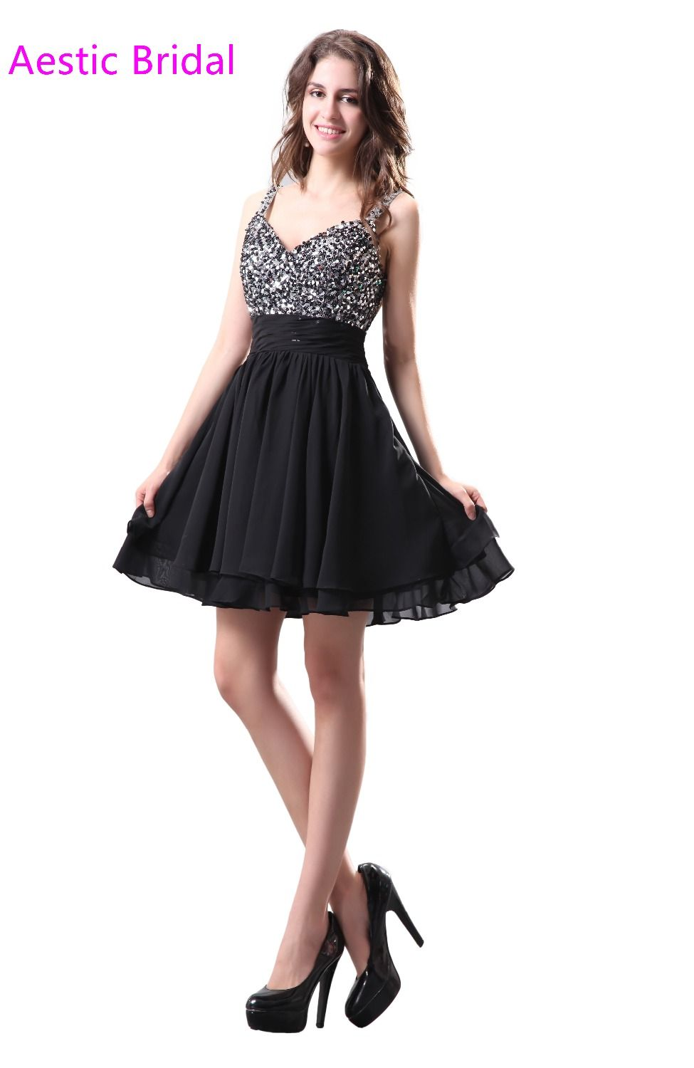 Click to buy ucuc semi formal homecoming dress black mini chiffon