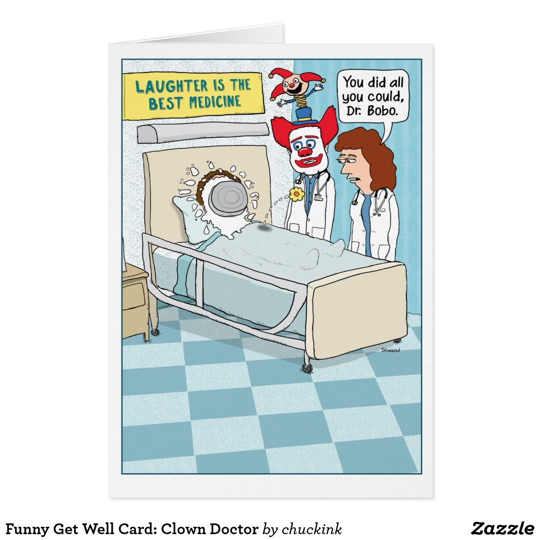 Funny get well card clown doctor card clown doctors funny get well card clown doctor card kristyandbryce Choice Image