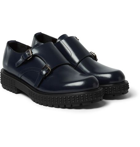 VALENTINO Studded-Sole Leather Monk-Strap Shoes £512.50