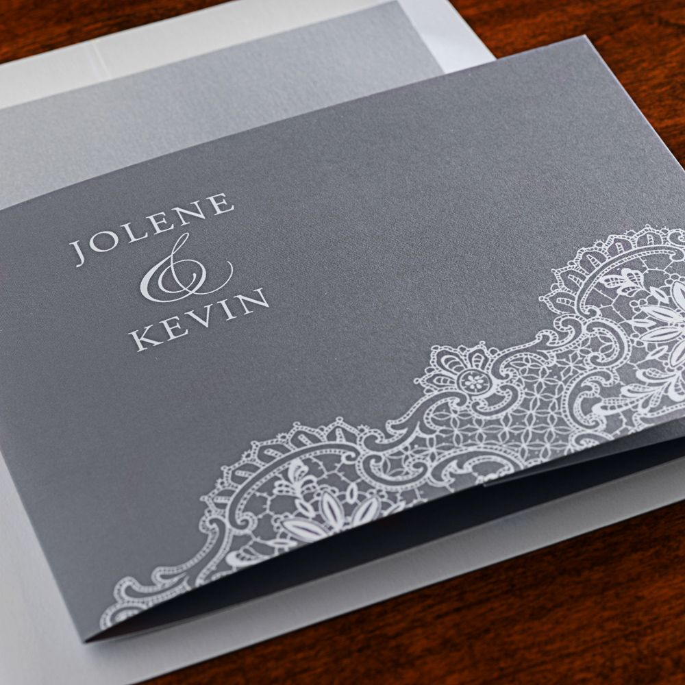 This All In One Wedding Invitation Featuring A Lace Design Is One Of Our Top Sellers Check It