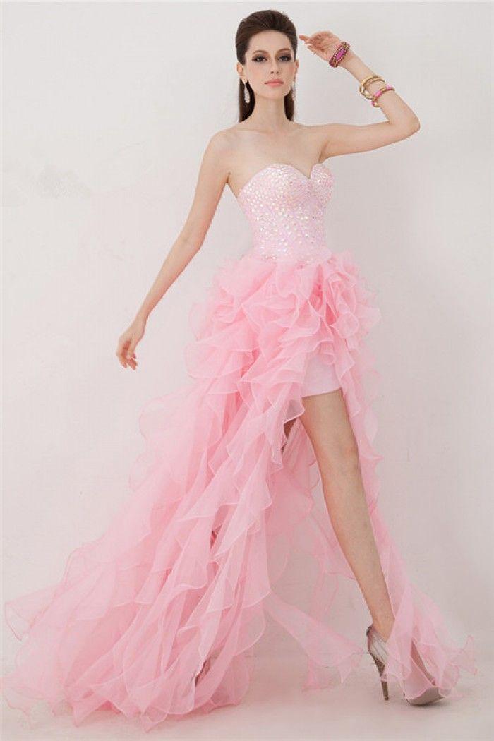 Fashion Sweetheart High Low Pink Organza Ruffle Beaded Corset Prom ...