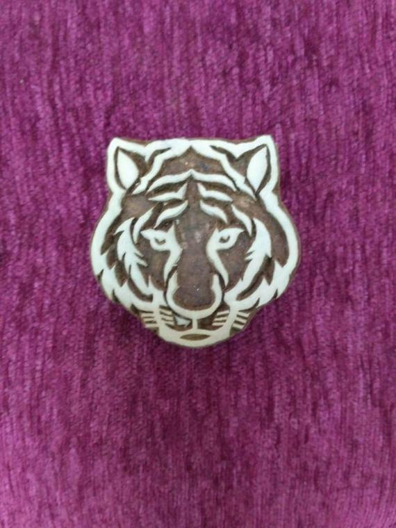 Tiger hand carved wood printing block pottery stamp textile printing block, fabric stamps, batik stamps, tjaps #fabricstamping