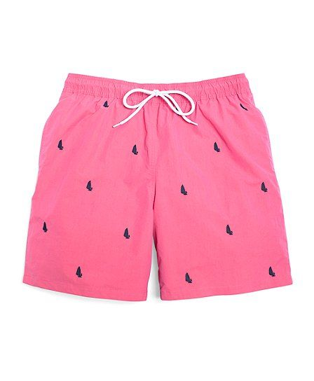0608f1a4dd Montauk Windsurfer Embroidered Swim Trunks Dark Pink | Gentleman's ...