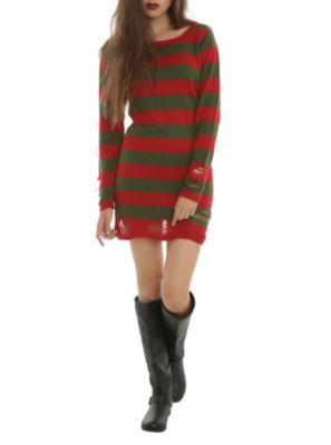 Boy/'s Men/'s Freddy Krueger Style Red /& Green Stripe Knitted Jumper Fancy Dress