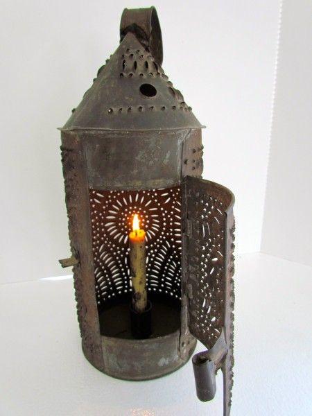 Fabulous 19th Century Punched Tin Paul Revere Lantern Primitive Lighting Primitive Lamps Antique Lanterns