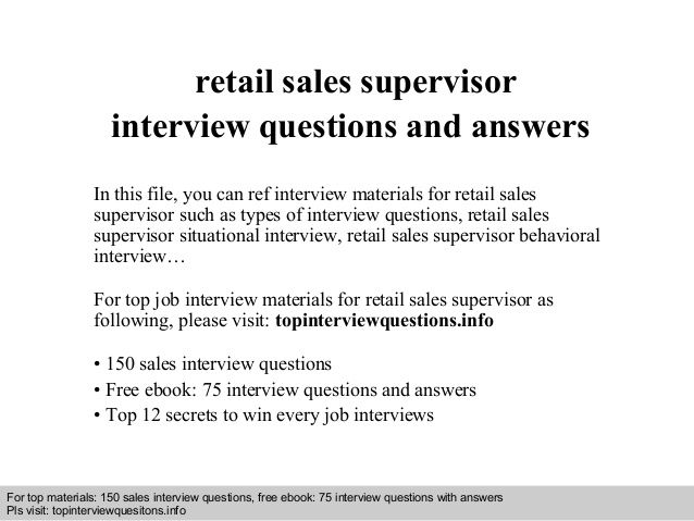 Retail sales supervisor interview questions and answers | Saturday ...