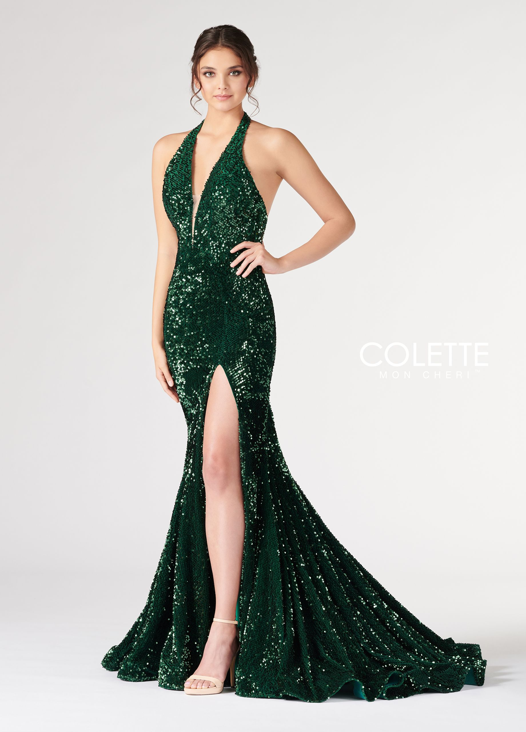 bee8390a8ae Plunging V-Neck Halter Sequin Fit   Flare Prom Dress- CL19890