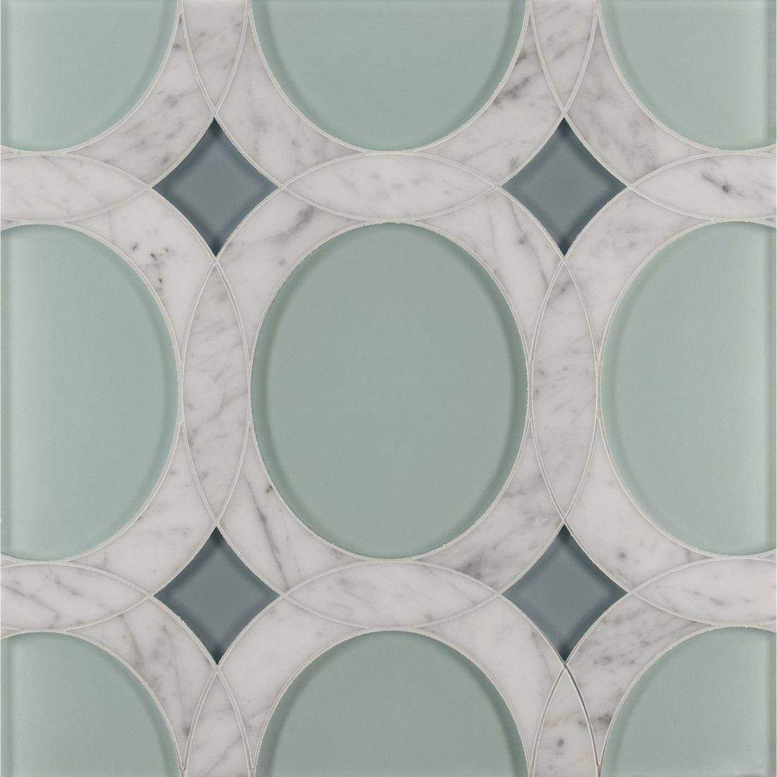 Liberty Mosaics Ann Sacks Tile Stone Rockefeller Oval Medium Mosaic In Aquamarine Blue Clear Gl Abalone And Bianco Carrera Marble