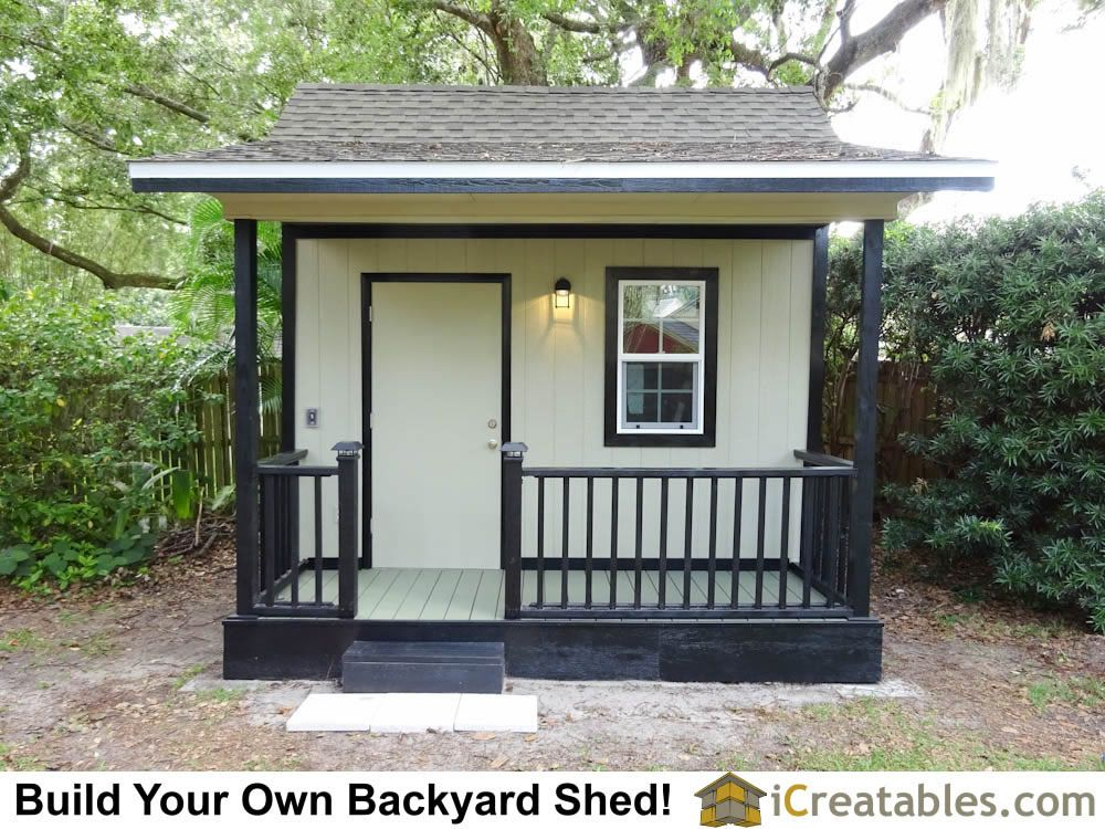 10x12 Backyard Garden Shed Plans With A Deck Porch And Handrail