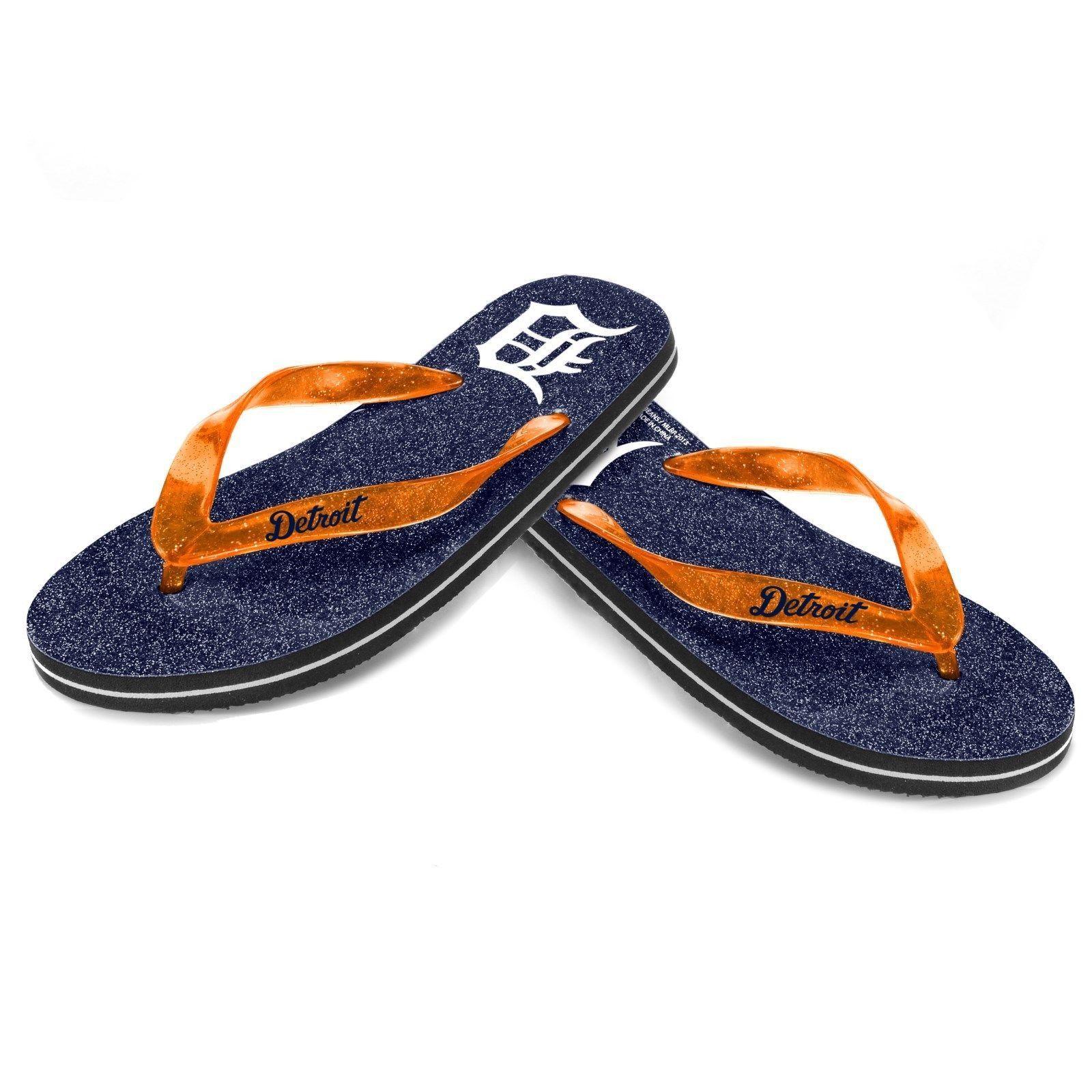 Detroit Tigers Women's Glitter Flip Flop Sandals