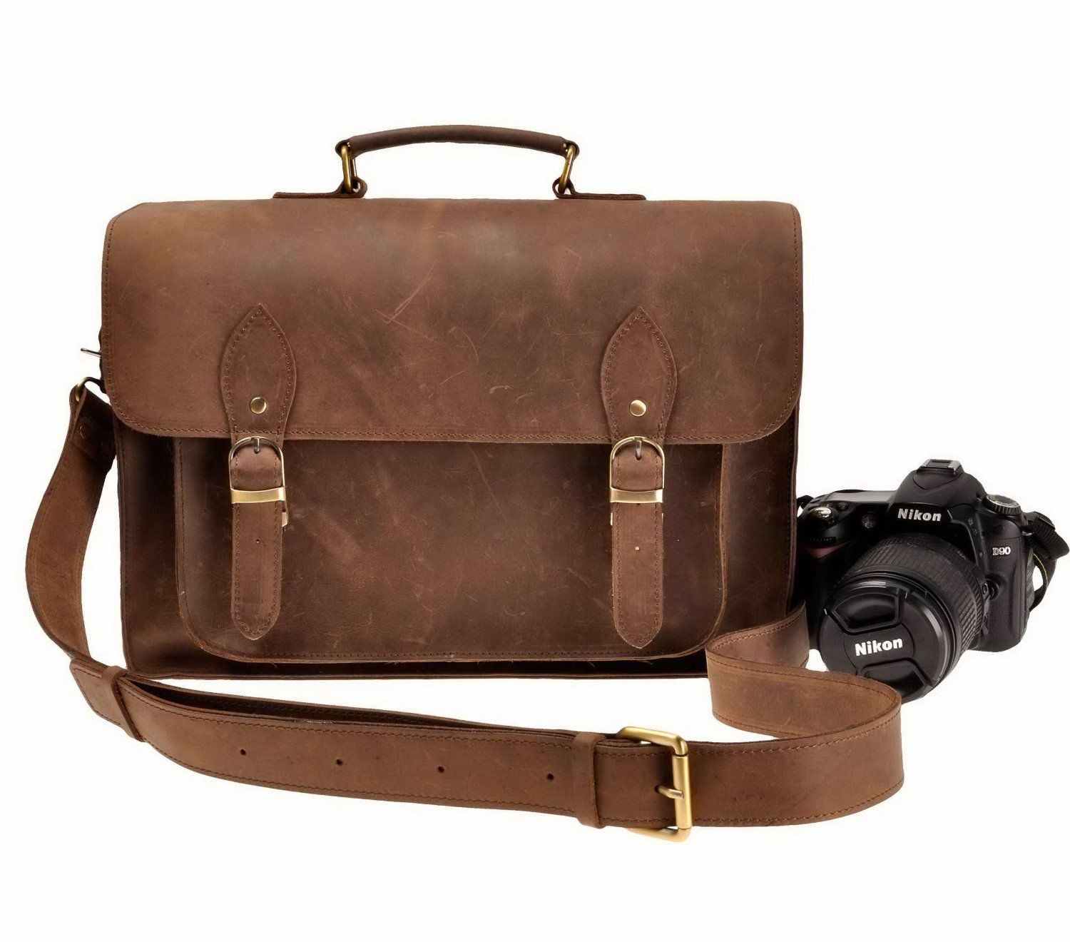 4d994d05193 Amazon.com  ZLYC Leather Vintage Removable Padded Camera Messenger Shoulder  Bag…