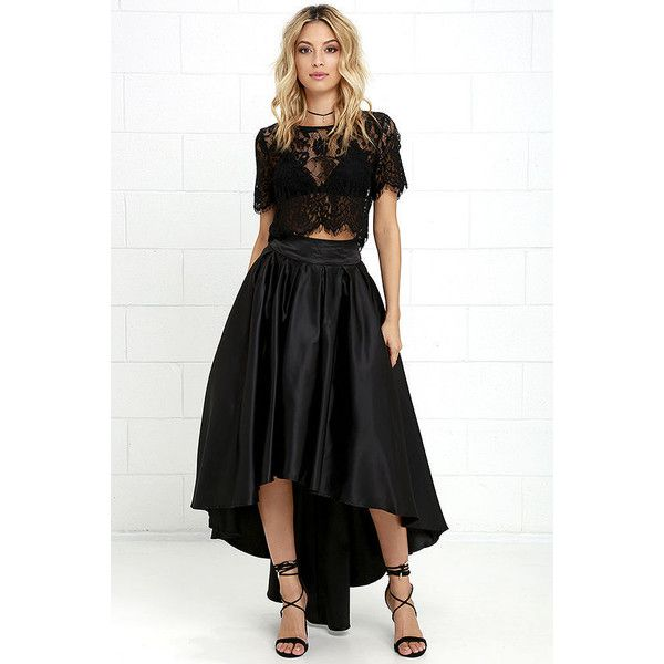 e3e1ed8a26 Modern Mystery Black Satin High-Low Skirt ( 93) ❤ liked on Polyvore  featuring skirts