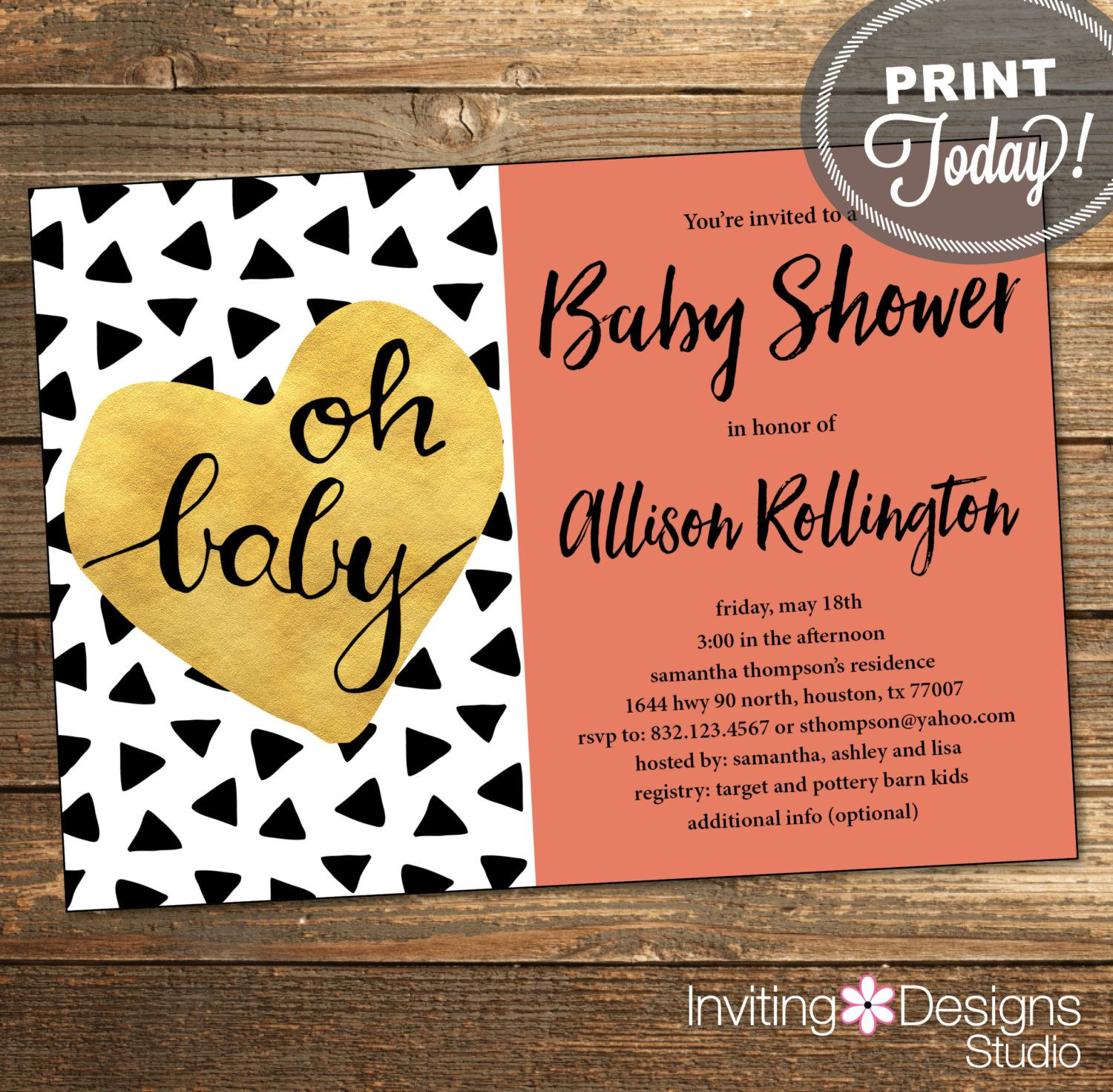 Gold and Coral Baby Shower Invitation, Baby Girl, Triangles, Aztec ...