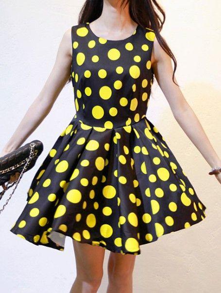 Black Yellow Sleeveless Polka Dot Ruffles Dress | Polka dots <3 ...