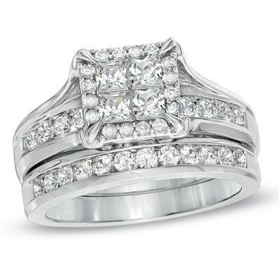 Great T W Princess Cut Quad Diamond Bridal Set in