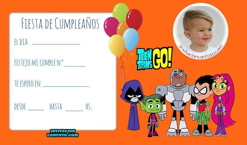 Tarjetas De Cumpleaños De Jovenes Titanes Invitaciones De