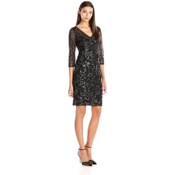 Adrianna Papell Women's V Neck Sequin Sheath Dress with 3/4 Sleeves ($74) ❤ liked on Polyvore featuring dresses, adrianna papell dresses, adrianna papell, v neck dress, sequin dress and 3/4 sleeve sheath dress