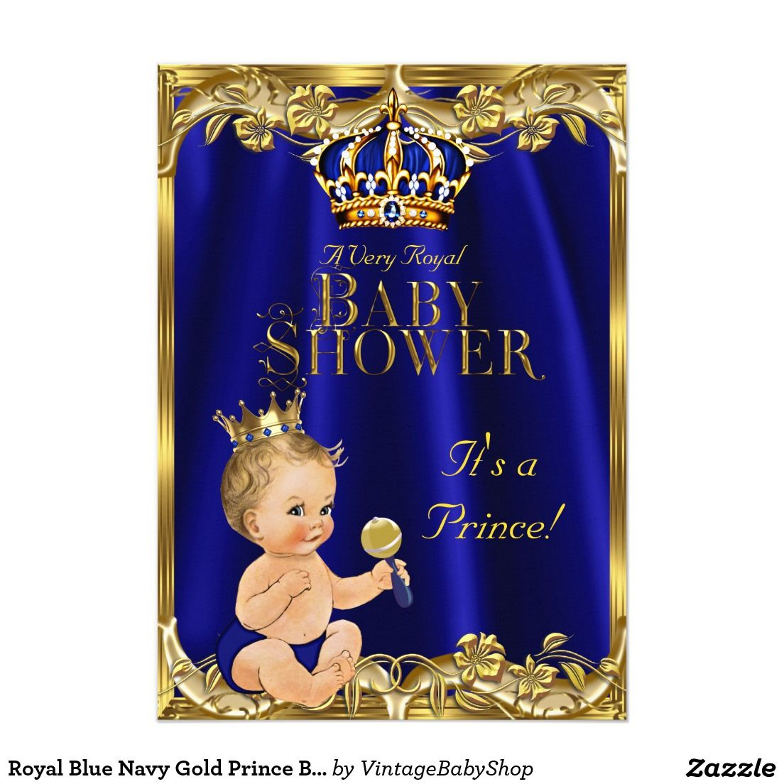 Royal Blue Navy Gold Prince Baby Shower Blonde Invitation In 2018