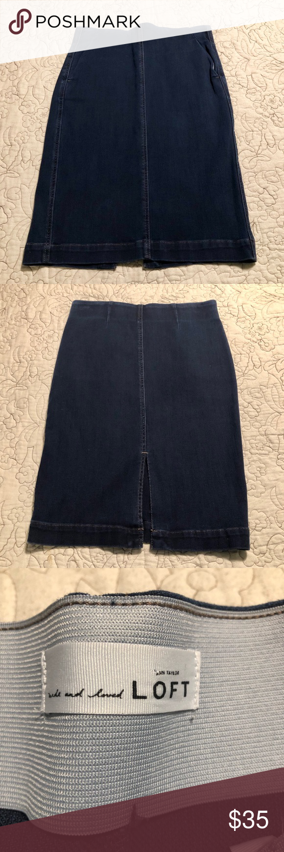 5d03e27900 #190632 Loft Pencil denim skirt In excellent condition! Wide inner elastic  band creates a smooth waist line. Has back slit and side pockets.