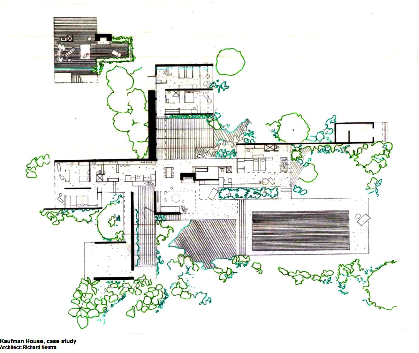 Richard neutra kaufmann house floor plans for Desert home plans