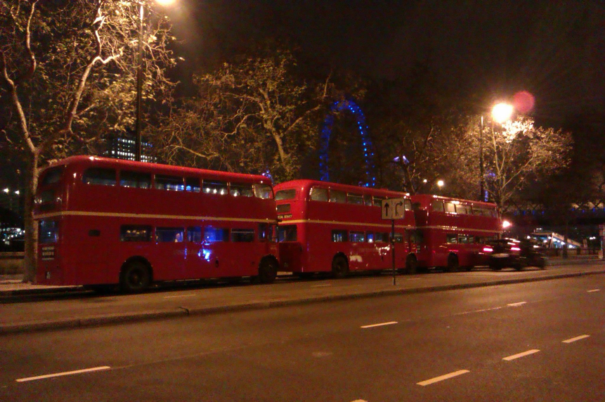 London red buses at night