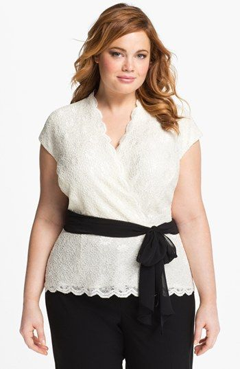 Stefanie S Wedding Alex Evenings Lace Surplice Blouse Plus Size Available At Nordstrom
