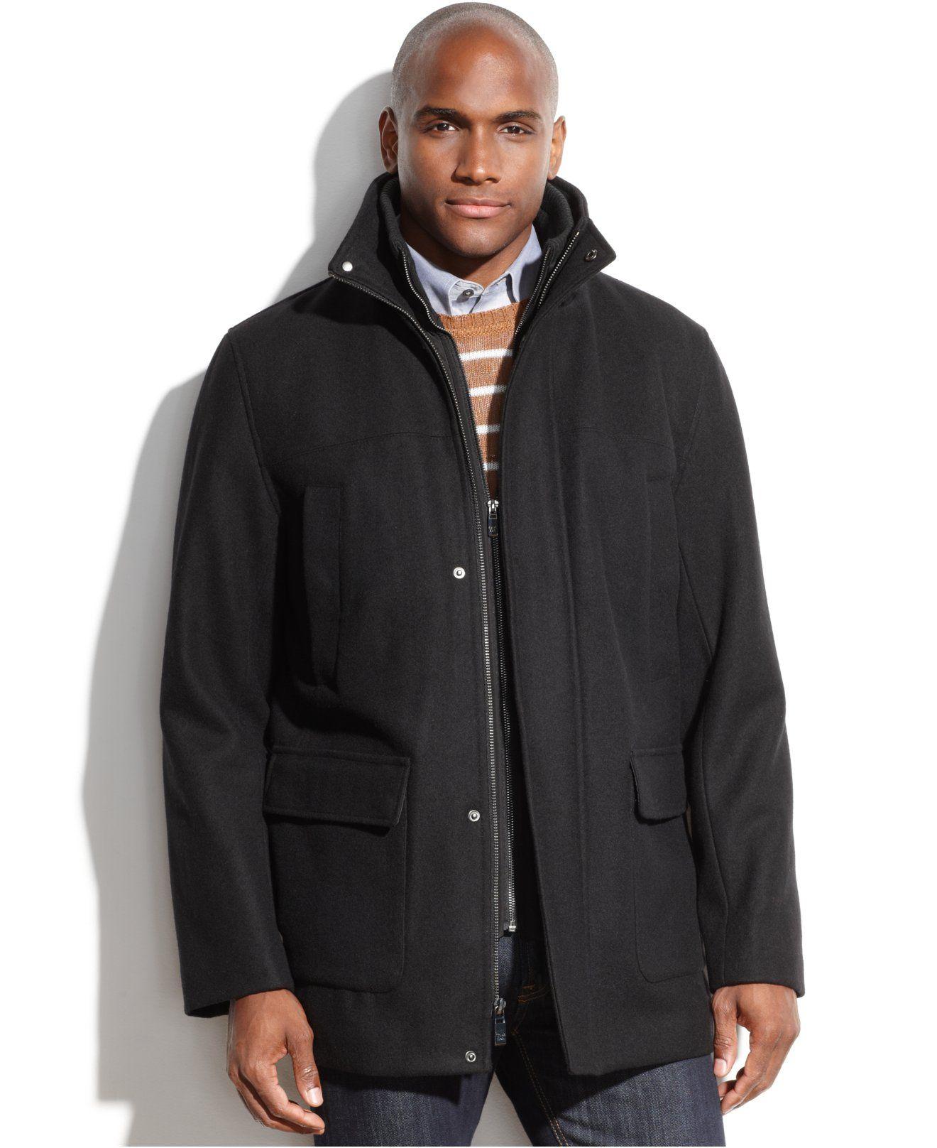 Calvin Klein Wool Blend Contrast Bib Lux Twill Car Coat Coats Jackets Men Macy S Car Coat Coats Jackets Coat [ 1616 x 1320 Pixel ]