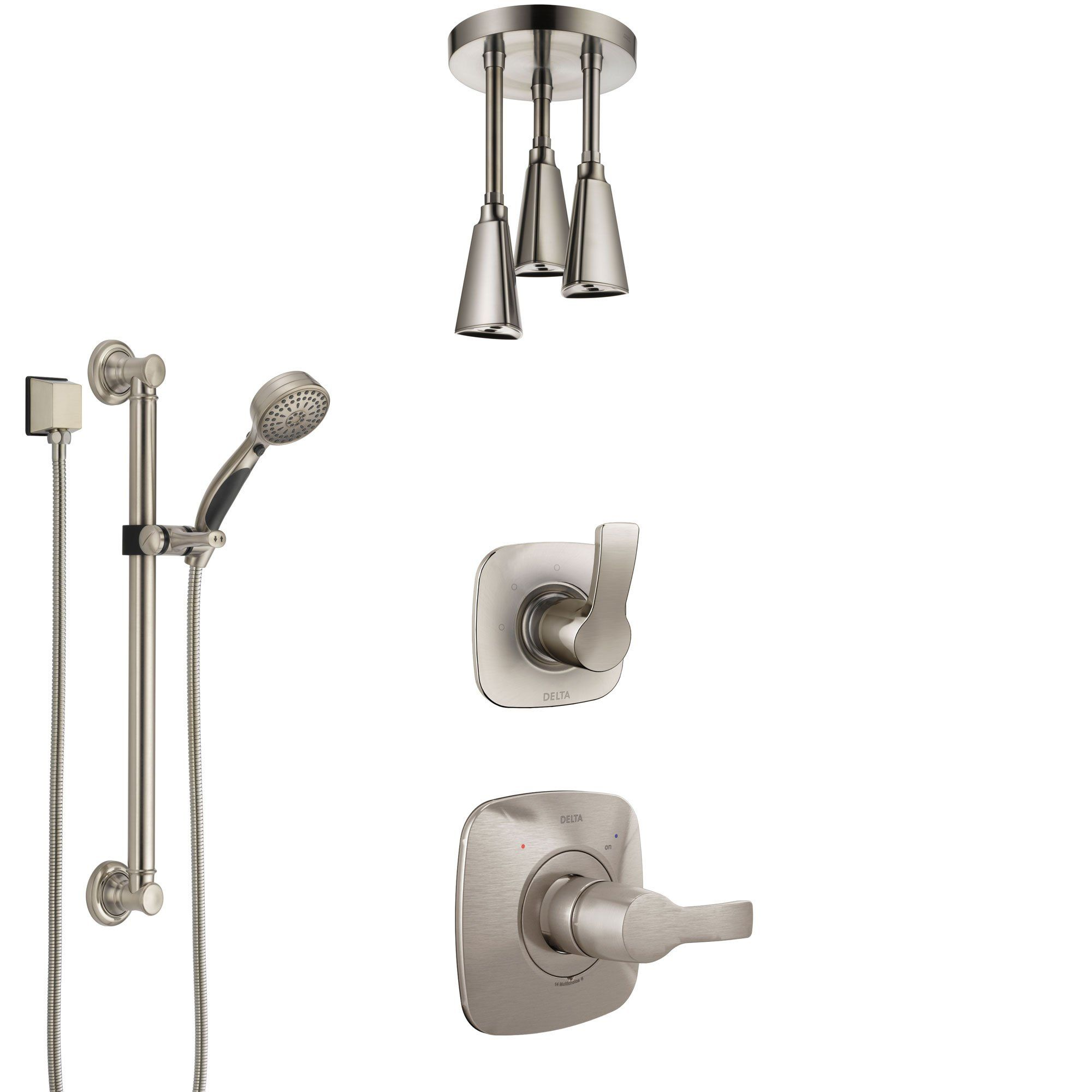 Delta Tesla Stainless Steel Finish Shower System With Control