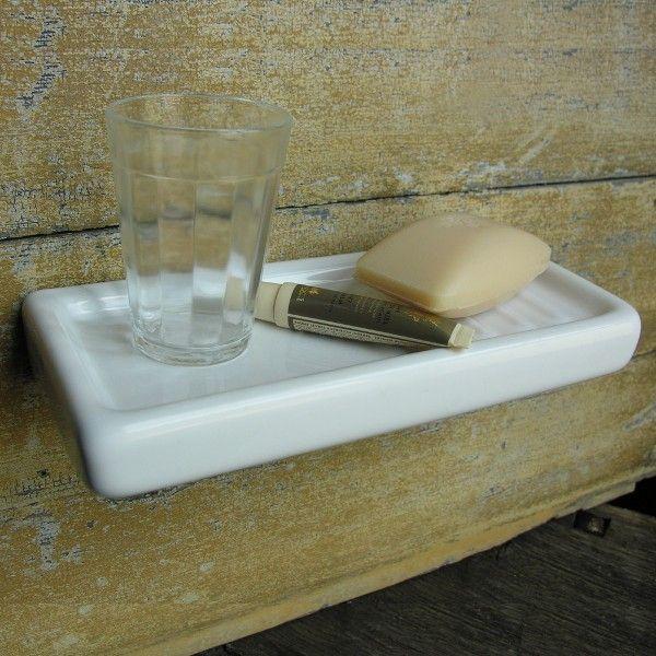 Lovely Simple Easily Cleaned White Ceramic Shelf For Bath Or