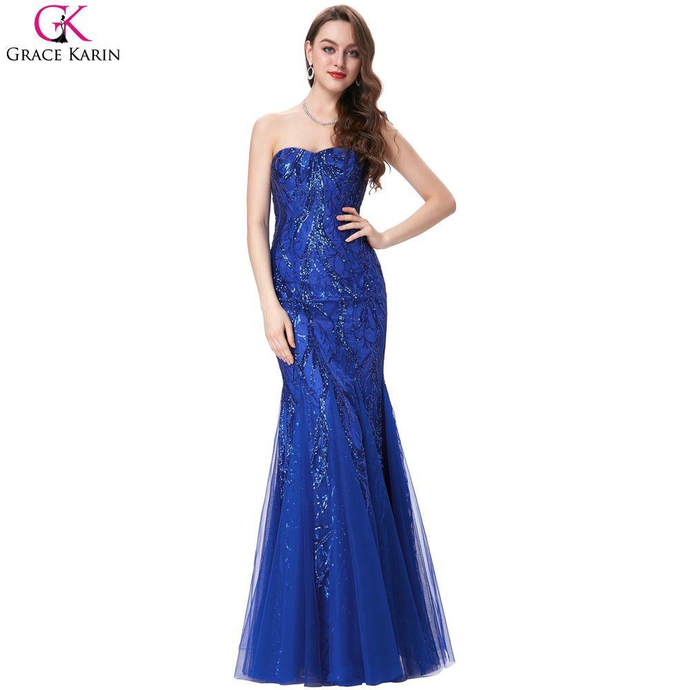 Mermaid prom dresses grace karin sweetheart tulle bling sequins