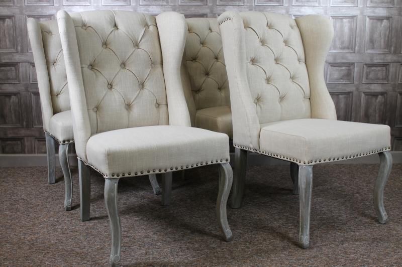 French Style Button Back Winged Dining Chairs In Cream Linen And