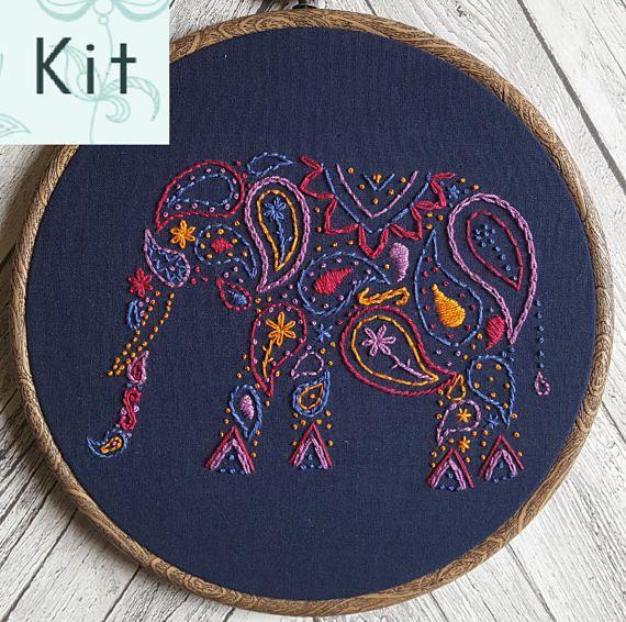 Paisley Elephant Embroidery Kit, Needlecraft Pack, DIY Kit, Hand Embroidery, Modern Embroidery, Hoop Art Kit, Elephant Embroidery #elephantitems