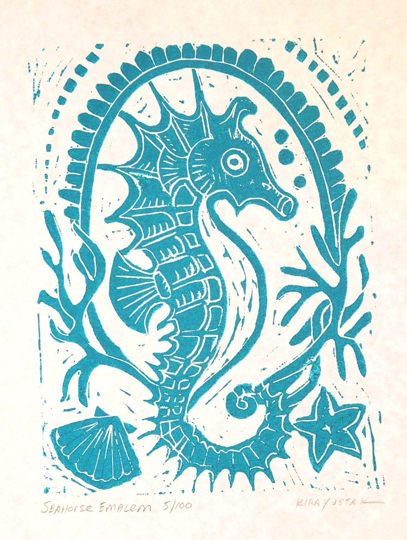 Seahorse Emblem Block Print by kirayustak on Etsy | seahorses ...