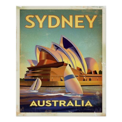 Sydney Opera House Poster Zazzle Com Vintage Travel Posters Postcard Sydney Opera House