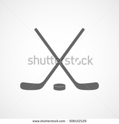 Hockey Stick Flat Icon On White Background Flat Icon Hockey Stick Hockey