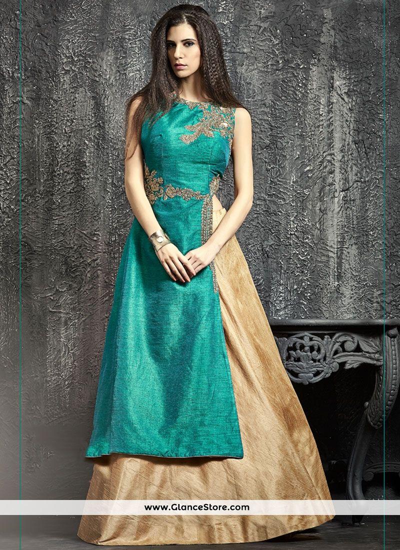 Prominent Beige And Sea Green Raw Silk Lehenga Choli   INDIAN Style ...