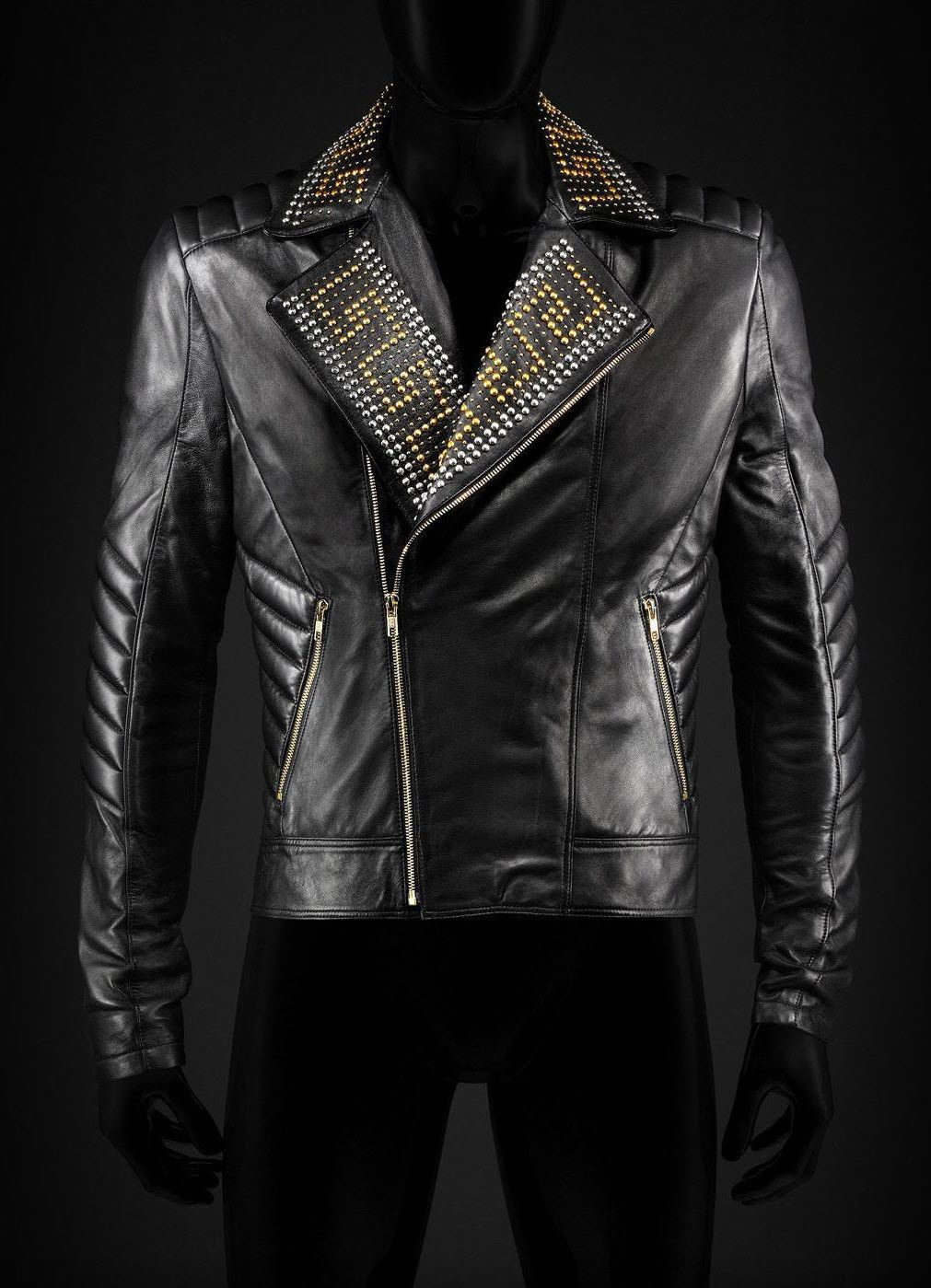 Mens Versace H M Golden Silver Studded Biker Black Leather Jacket All Sizes Outerwear Leather Jacket Men Leather Jacket Style Real Leather Jacket [ 1399 x 1011 Pixel ]