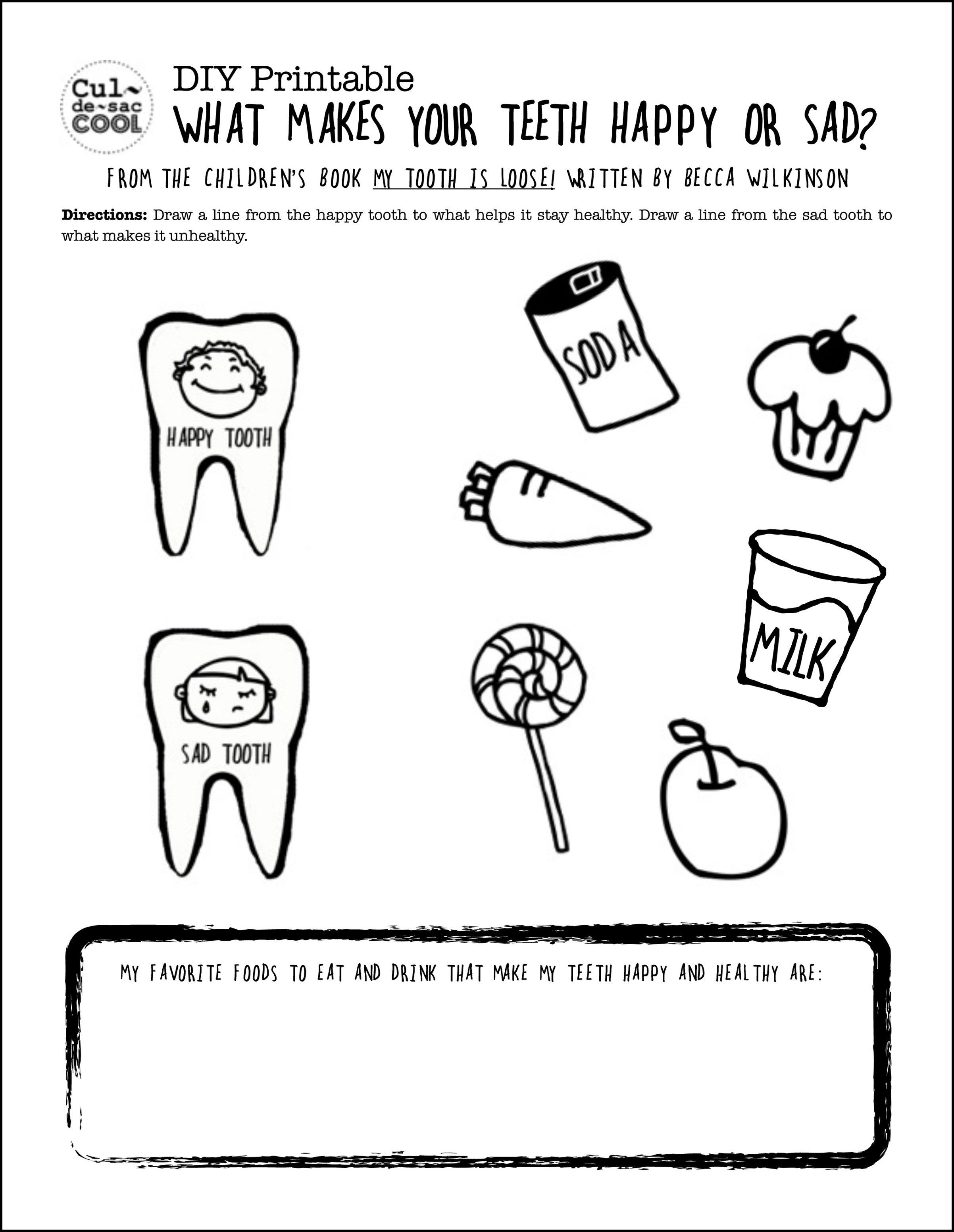 Diy Printable What Makes Your Teeth Happy Or Sad Teeth